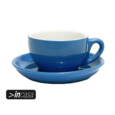 Bowl Cappuccino Cups & Saucers Set of 6 (Blue)
