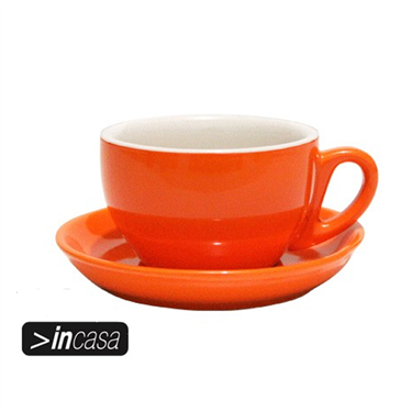 Cappuccino Cup and Saucer Set of 6 (Orange)
